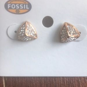 Fossil Jewelry - NWT Fossil Pave Pyramid Studs